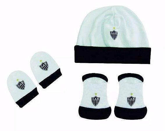 Kit Bebê 3 Pçs Atlético MG Touca Luva e Meia Oficial