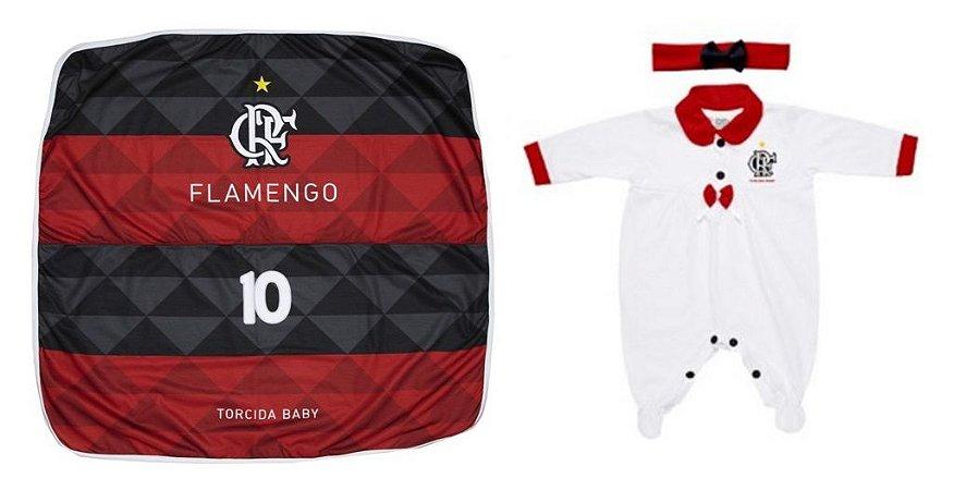 Kit Maternidade Flamengo Com Manta e Tiara - Torcida Baby