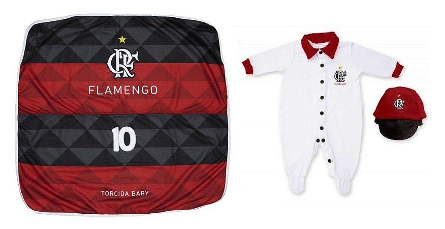 Kit Maternidade Flamengo Com Manta e Boné - Torcida Baby