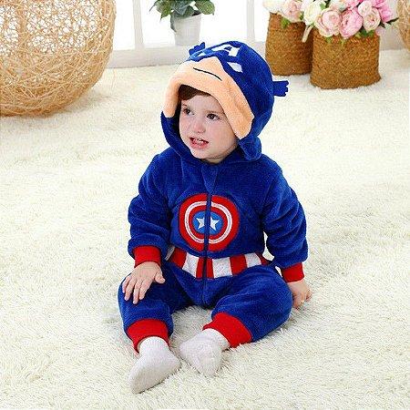 Macacão Bebê Capitão América Plush Luxo
