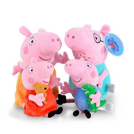 Kit Pelúcia Família Peppa Pig Com 4 Personagens 28Cm Original