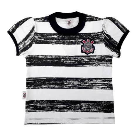 Camiseta Infantil Corinthians Listras Feminina Oficial