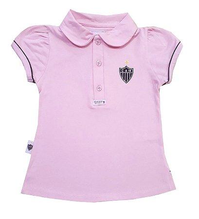 4f61f775e1 Camisa Polo Infantil Atlético MG Rosa Oficial
