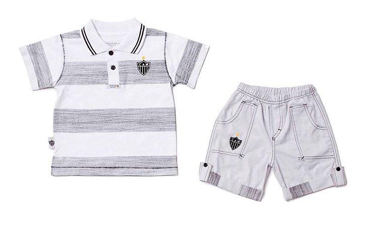Conjunto Bebê Atlético MG Polo e Bermuda Oficial