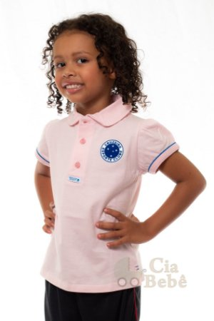 Camisa Polo Infantil Cruzeiro Rosa Oficial