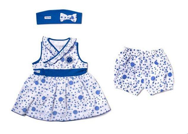 Vestido Cruzeiro Infantil com Shorts e Tiara Oficial