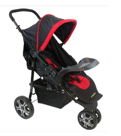 Carrinho de Bebê Madri 3 Rodas Vermelho Naskinha