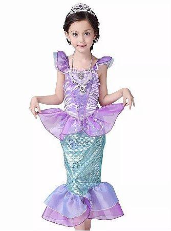 Fantasia Infantil Pequena Sereia Princesa Ariel