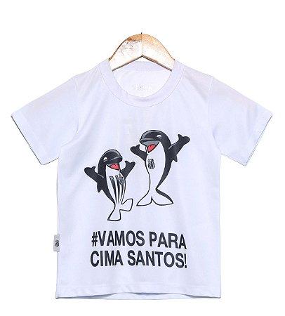 Camiseta Infantil Santos Branca Mascote Oficial