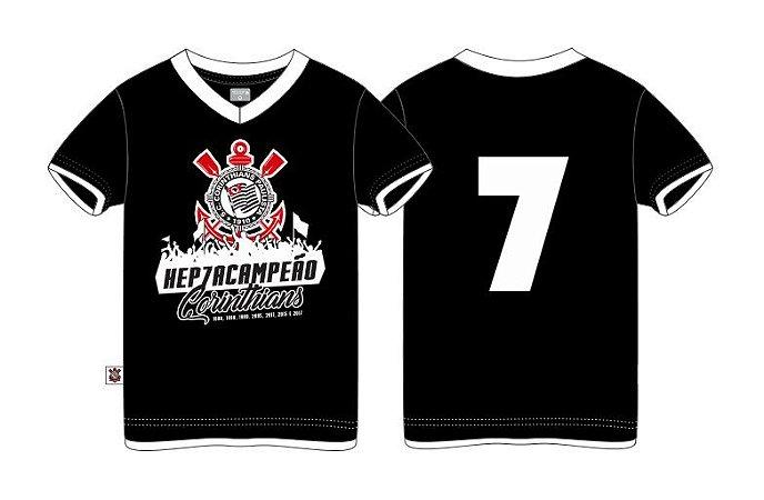 Camiseta Infantil Corinthians Hepta Preta Oficial