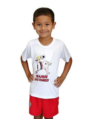 Camiseta Infantil São Paulo Mascote Branca Oficial
