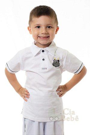 Camisa Polo Infantil Santos Branca Oficial