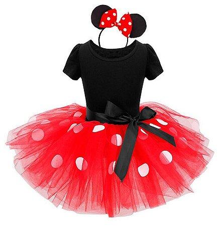 176fb68ae86 Vestido Infantil Minnie Tule Vermelho - Cia Bebê