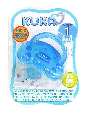 Chupeta Kuka 100% Silicone Soft Orto Fase 1 Azul (0 a 6 meses)