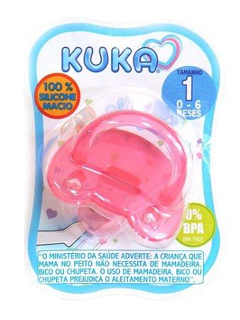Chupeta Kuka 100% Silicone Soft Orto Fase 1 Rosa (0 a 6 meses)