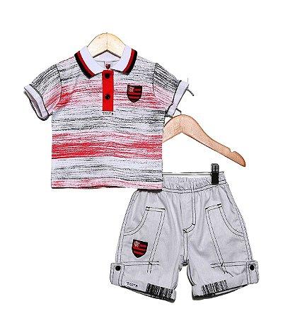 Conjunto Flamengo Bebê Polo e Bermuda Oficial