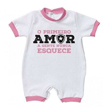 Macacão Bebê Botafogo Primeiro Amor Rosa - Torcida Baby