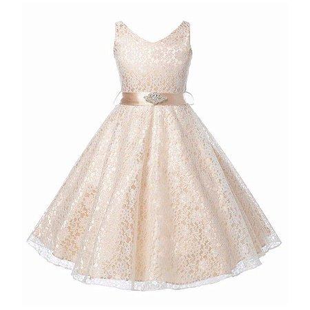 Vestido Infantil Festa Casamento Florista Bege