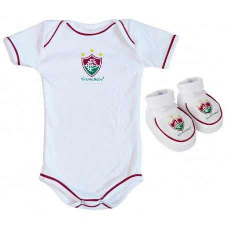 Body e Pantufa Fluminense Branco Torcida Baby