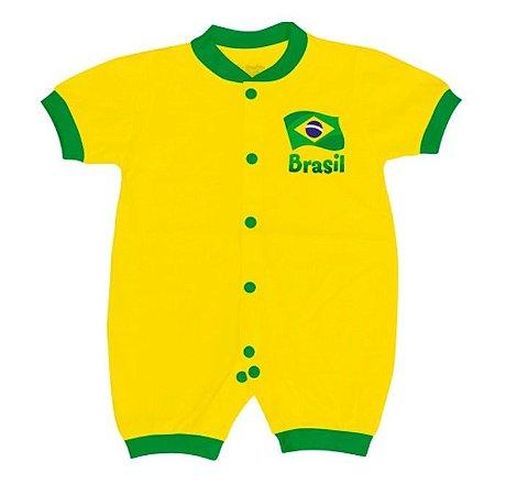Macacão Bebê Brasil Manga Curta Malha - Torcida Baby