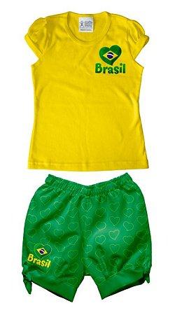 d7e39612ef Conjunto Infantil Brasil Feminino - Torcida Baby