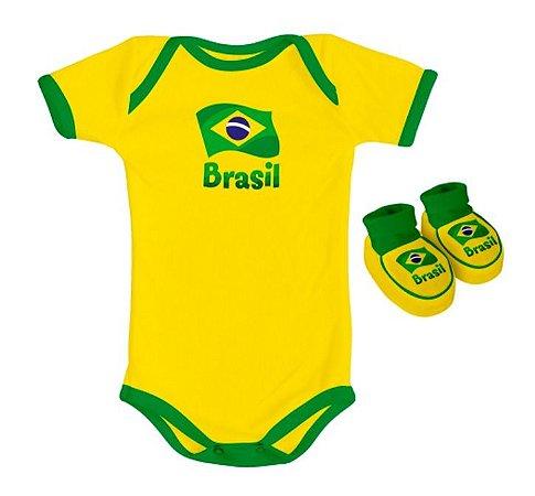 Kit Body e Pantufa Brasil Torcida Baby