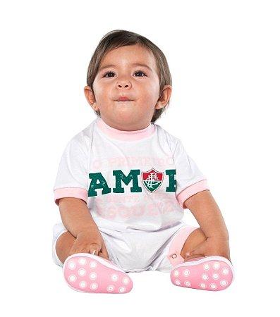 Macacão Bebê Fluminense Primeiro Amor Rosa - Torcida Baby