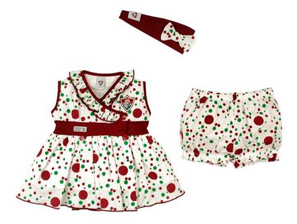 Vestido Infantil Fluminense com Shorts e Tiara Oficial