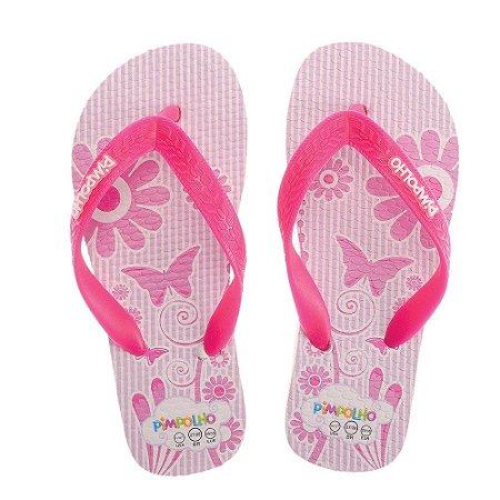Chinelo Infantil Pimpolho Rosa Borboleta (25 ao 31)