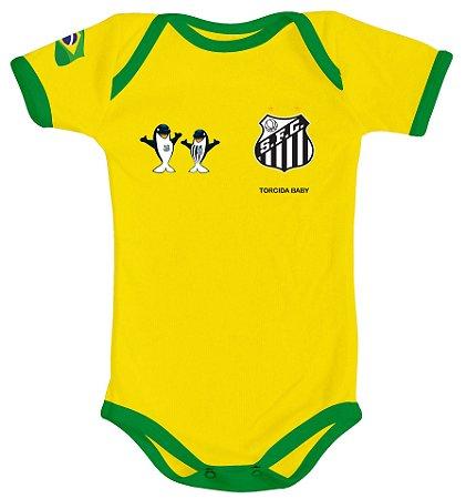 Body Santos Amarelo Torcida Baby