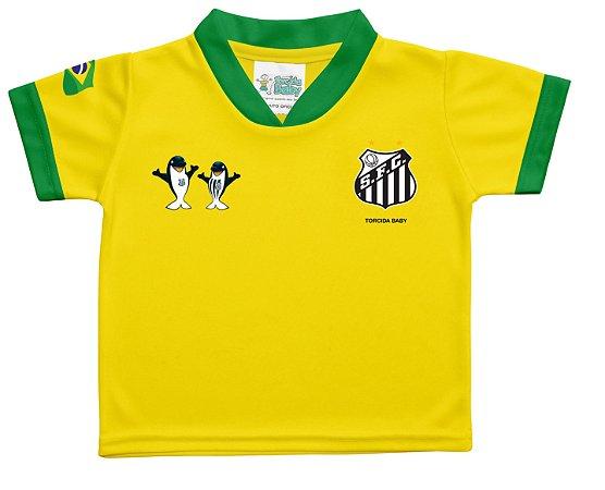Camiseta Santos Infantil Amarela Torcida Baby - Cia Bebê  b7c34e1a42710