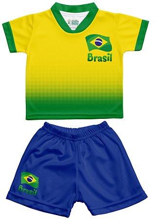 Conjunto Uniforme Bebê Brasil Degradê - Torcida Baby - Cia Bebê ... dd38c8b399067