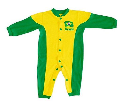 Macacão Bebê Brasil Verde Amarelo Longo - Torcida Baby