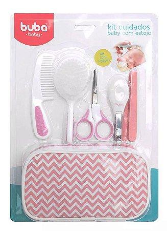 Kit Bebê Higiene Cuidados Com Estojo Rosa Buba