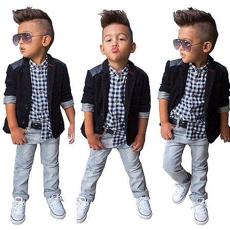 Conjunto Infantil Social Casaco Camisa Xadrez e Calça Jeans