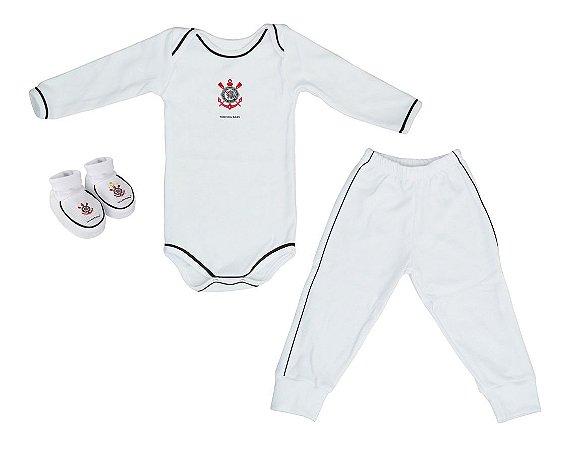 Kit Bebê Corinthians 3 Peças Longo Branco - Torcida Baby