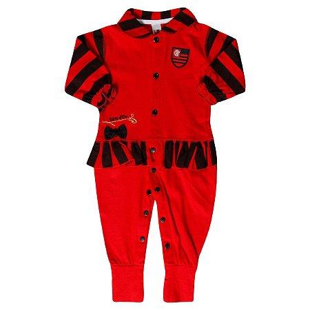 Macacão Bebê Flamengo Longo Listras Oficial