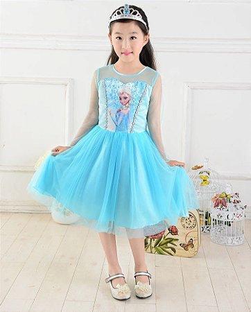 Vestido Fantasia Rainha Elsa Frozen