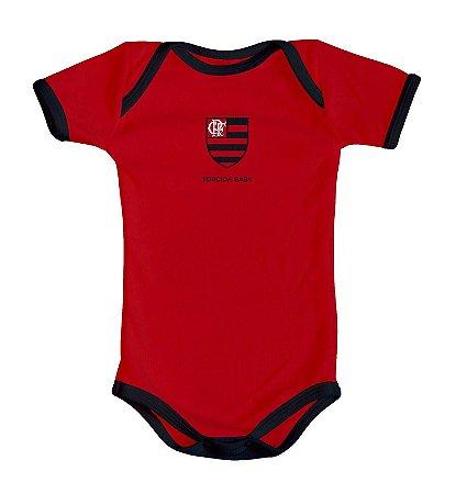 Body Bebê Flamengo Curto Vermelho Oficial - Torcida Baby