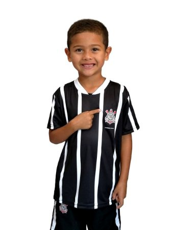 Camiseta Infantil Corinthians Listras Preta - Torcida Baby