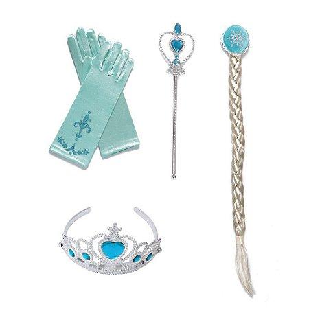 Kit Elsa Frozen com Trança Coroa Varinha e Luva