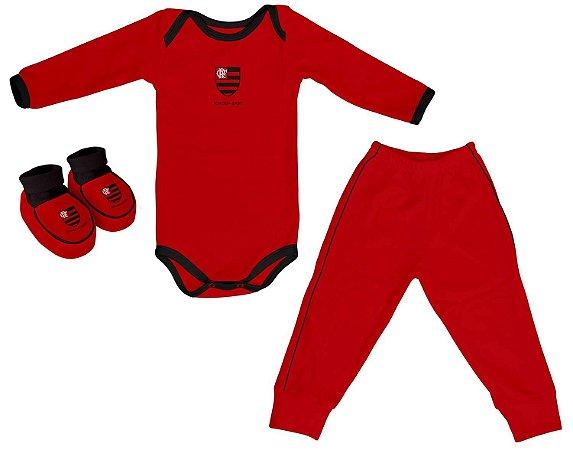 Kit Bebê Flamengo 3 Peças Longo Vermelho - Torcida Baby