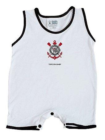 Macacão Bebê Corinthians Regata Branco - Torcida Baby