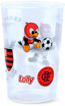 Copo Flamengo Plástico Transparente Lolly 350ml