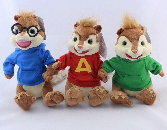 Kit Pelúcia Alvin e os Esquilos 3 Pçs (25cm)