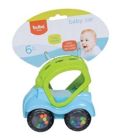 Carrinho Bebê Azul com Chocalho Buba
