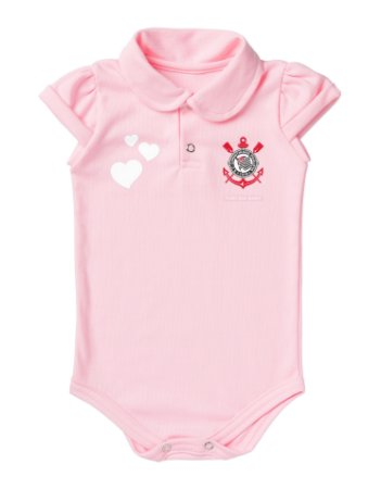 Body Corinthians Polo Rosa Torcida Baby