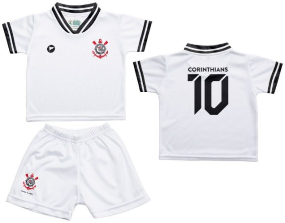 Conjunto Bebê Corinthians Uniforme Branco - Torcida Baby
