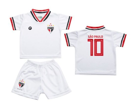 49cc522a45 Conjunto Bebê São Paulo Uniforme Branco - Torcida Baby
