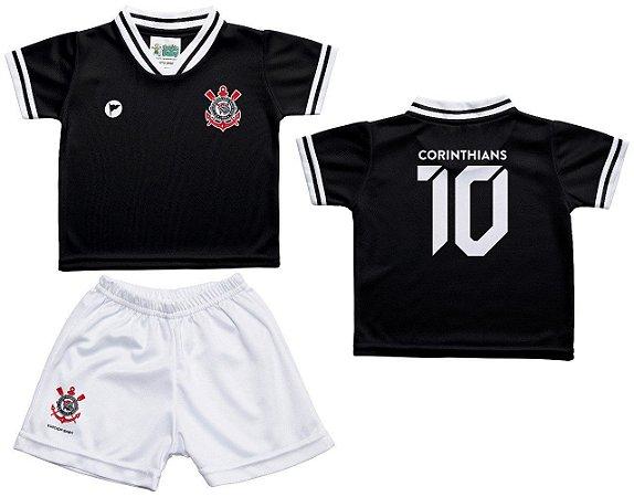 Conjunto Infantil Corinthians Uniforme Preto - Torcida Baby